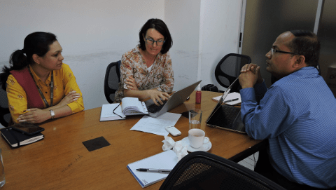 Our health specialist Cecilia Capello at BRAC's office in Bangladesh.